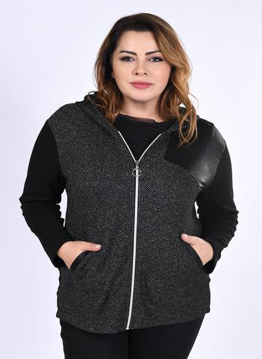 WHIP Design Petek Örü Kapşonlu Uzun Kol Polyester Hırka Siyah